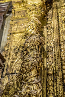 Romanesque, Interior of gothic cathedral in Spain, details of woodwork with gold leaf