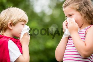 Kinder haben eine Grippe