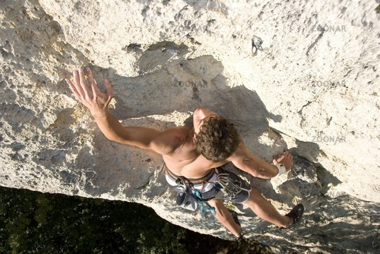 A man runs the Sport Climbing
