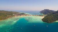 Aerial drone photo of iconic tropical beach and resorts of Phi Phi island