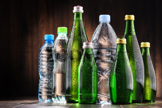 Composition with different sorts of bottles containing mineral water