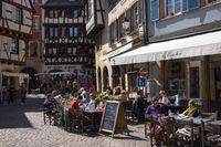 Colmar, sidewalk cafe and wine bar on the Rue des Marchands
