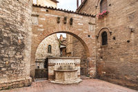 Ancient stone fountain in Perugia, Italy