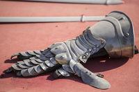 Metal, medieval iron weapons, gloves, swords, ruts