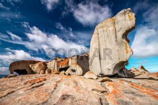 Remarkable rocks with blue and white sky, impressive landmark on Kangaroo Island, South Australia