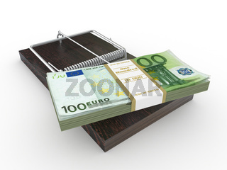 Mousetrap with euro on white isolated background. 3d