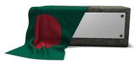 steinsockel mit leerem weißen schild und fahne von bangladesch - 3d rendering