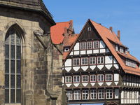 Hamelin - Half-timbered house at the market church, Germany
