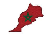 Karte und Fahne von Marokko auf altem Leinen - Map and flag of Morocco on old linen