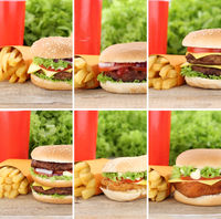 Hamburger Sammlung Collage Cheeseburger Menu Menü Menue Fast Food Pommes Frites Getränk