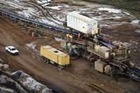 brown coal surface mining with coveyor system, Garzweiler, North Rhine-Westphalia, Germany, Europe