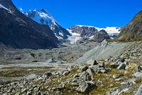 Moraine with glacial debris, glacier Zmuttgletscher,  Zermatt, Valais, Switzerland
