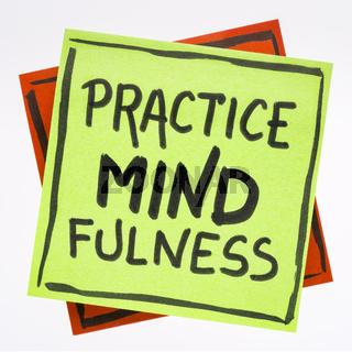 Practice mindfulness reminder note
