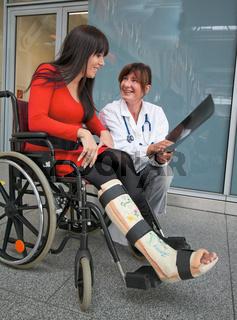 Frau mit Gipsbein,Arzt und Rollstuhl