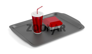 Tray with soda and sandwich