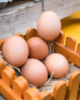 brown eggs in the wooden basket