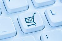 Online Shopping E-Commerce einkaufen Einkauf Internet blau Computer Tastatur