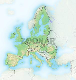 Europäische Union , Reliefkarte.