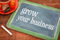 grow your business - blackboard sign