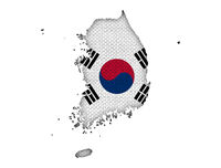 Karte und Fahne von Südkorea - Map and flag of South Korea