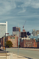 Boston, MA, USA 25 Jul. 2009: Shot of developing buildings in waterfront area of Boston