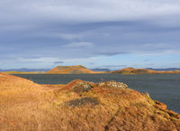 autumn landscape with rootless cone at Myvatn Lake, Iceland