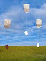 flying tea bags