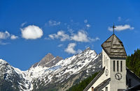 wiss heritage mountain village with church, Blatten, Lötschental, Pennine Alps, Valais, Switzerland