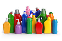 Detergent bottles or contaners. Cleaning supplies isolated on white background.