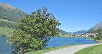 Lake Muta and Village of St.Valentin,Resia Pass,South Tirol,Italy