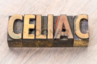 celiac word abstract in wood type