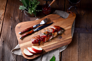 fried duck breast with cranberries