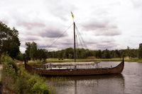 Viking ship on lake Vaenern in Sweden
