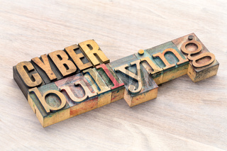 cyber bullying word abstract in wood type