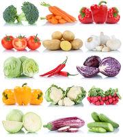 Gemüse Tomaten Karotten Paprika Salat Kraut Collage Freisteller freigestellt isoliert