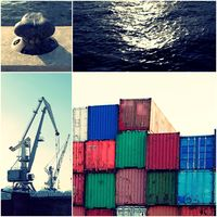 Container in port with cranes and pier and sea water collage of toned images