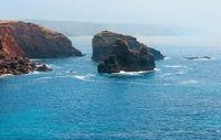 Summer Atlantic rocky coast (Algarve, Portugal).