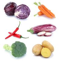 Gemüse Kartoffeln Karotten frische Möhren Collage Freisteller freigestellt isoliert