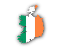 Karte und Fahne von Irland - Map and flag of Ireland