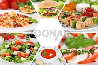 Sammlung Collage Essen Gerichte Restaurant Karte Speisekarte
