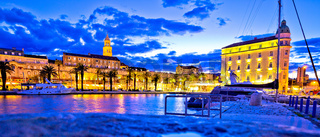 Split landmarks evening blue panoramic view