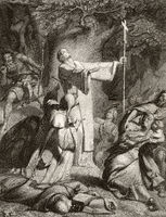 Saint Boniface being martyred in 754, Dokkum, Frisia, Germania,