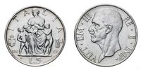 five 5 Lire Silver Coin 1937 Fecondita fertility Vittorio Emanuele III Kingdom of Italy