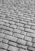 Old English cobblestone road close up.