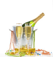 Happy New Year Celebration with Champagne for two isolated on white background