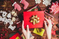 Preparation a Christmas gift box