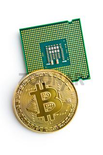 Golden bitcoins and CPU.