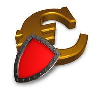 eurosymbol und schutzschild - 3d rendering