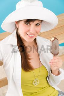 Summer - woman teenager enjoy ice lolly