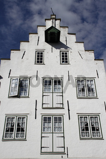 Treppengiebelhaus in Friedrichstadt, Nordfriesland, Deutschland
